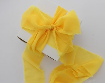 """Yellow Ribbon. 3"""" Wide Luxury Ribbon. Hand Torn and Frayed Buttercup Chiffon Ribbon Bundle. 3 Meter Lengths. Bouquet Ribbons. Gift Wrap"""