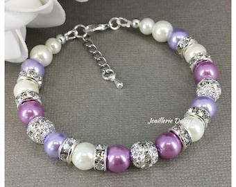 Purple Pearl Bracelet, Lavender Wedding, Purple Bracelet, Bridesmaid Bracelet, Bridesmaids Gifts, Maid of Honor Gift, Lavender, Lilac