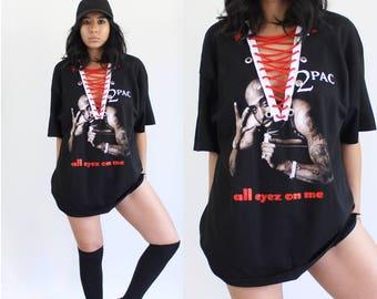 90's Distressed Tupac Tee, 90's Tupac Tee, Kylie Oversized Tee, Tupac T-shirt Dress, 90's Tupac T-shirt, Streetwear Logo T-shirt, Tupac Tee