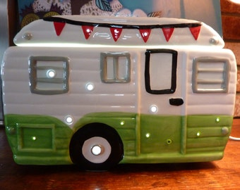 "Upcycled Retro Camper Airstream LED Night Light Music Box ""Don't Fence Me In"" Cookie Jar"