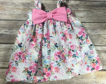 Floral Dress, Bow Dress, Pink Girls Dress, Girls Summer Dress, Baby Girl, Toddler Bow Dress