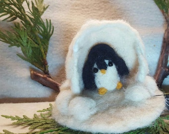 Penguin from Canada ,  Needle Felted,  Penguin Toy in playscape