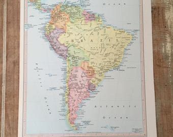 Brazil atlas map etsy vintage map page brazil paper emhemera atlas book page coloured map of brazil gumiabroncs Gallery