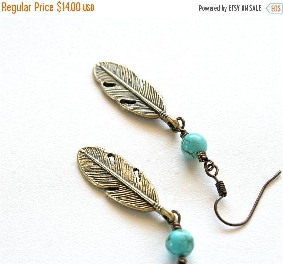 20% OFF SALE Boho Feather Earrings, Turquoise Earrings, Feather Jewelry, Southwestern Santa Fe Jewelry