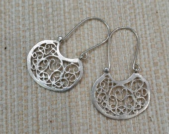 Ornate Filigree Earrings - Ethnic Earrings - Silver Earrings - Gypsy Earrings - Tribal Earrings - Statement Earrings  - Boho
