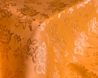 Orange Floral Jacquard Brocade Satin Fabric By the Yard Style 3006