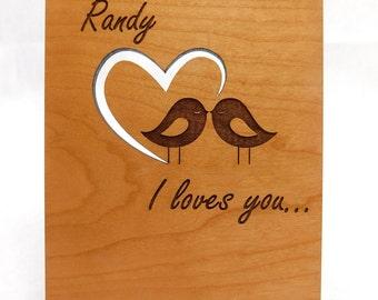Laser Engraved Love Birds Heat Cut Greeting Card, Customization Options. Valentines / Anniversary