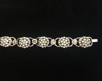 Vintage Prong Set Rhinestone and Silver Tone Metal Bracelet, ca 1950s