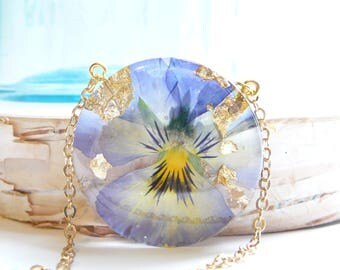 Celestial Bloom Necklace, Real Pansy Jewelry, Resin Necklace, Real Flowers in Resin, Gold Flake, Pressed Flower Jewelry, Pansy Necklace