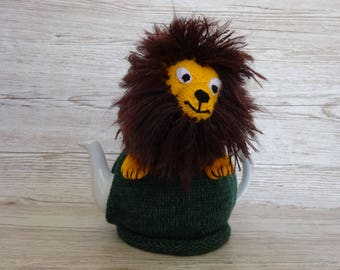 Knitted Tea Cosy Cozy Lion with His Great Big Shaggy Main Shabby Chic