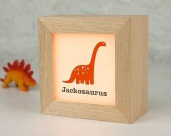 Personalised Dinosaur Lightbox/  solid wood/ child's dinosaur name/ diplodocus dinosaur design/ new baby gift/ looks lovely in the nursery