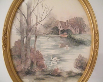 Oval Framed Swans on Lake Print with Colonial Home, Vintage 70s shabby cottage retro home, wall decor english river