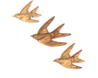 Vintage Brass Bird Wall Hanging, Mid Century Swallow Wall Decor, Gold Swift Wall Birds, Bird Wall Plaque, Retro Flying Birds Home Decor