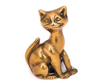 Vintage Brass Cat Candle Holder, Smiling Cat Statue, Cat Decor, Brass Kitty, Cat Candle Stick Holder, Cat Ornament, Brass Candle Holder