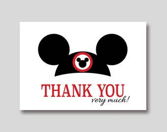 INSTANT DOWNLOAD Mickey Mouse Ears Thank You Card -  DIY Printable