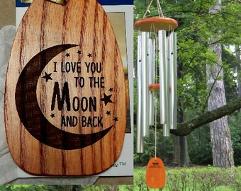 "Personalized Wind Chimes ""I Love You to the Moon and Back"" Engraved Chime, Valentine's Day Gift, Birthday Gift, Anniversary Gift, Windchime"