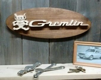 AMC Gremlin Emblem Oval Wall Plaque-Unique scroll saw automotive art created from wood for your garage, shop or man cave.
