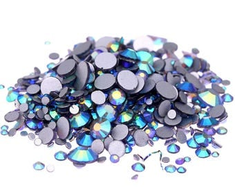 AB Dark Lavender --  Crystal Glass Rhinestones Flatback High Quality no hotfix  Wholesale Pack Lot -- SS4-SS30 Choose your size