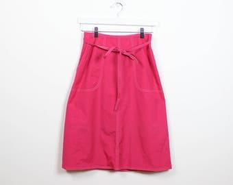 Vintage Raspberry Pink Skirt White Stitching 70s Skirt Classic A Line Skirt 1970s Skirt Preppy Midi Knee Length Wrap Skirt Hippie S M Medium