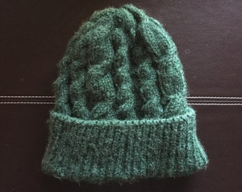 Green Fisherman Cabled Hat