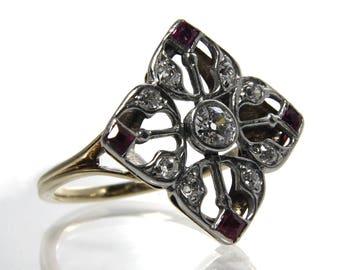Antique Edwardian Engagement Ring Old European Cut Diamonds Lab Created Rubies Size 6 1/2