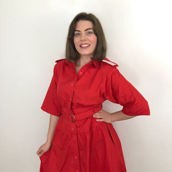 vintage military look dress red cotton oversized shirt dress 1980s epaulettes blouson full skirt belted UK 10 trashy 80s