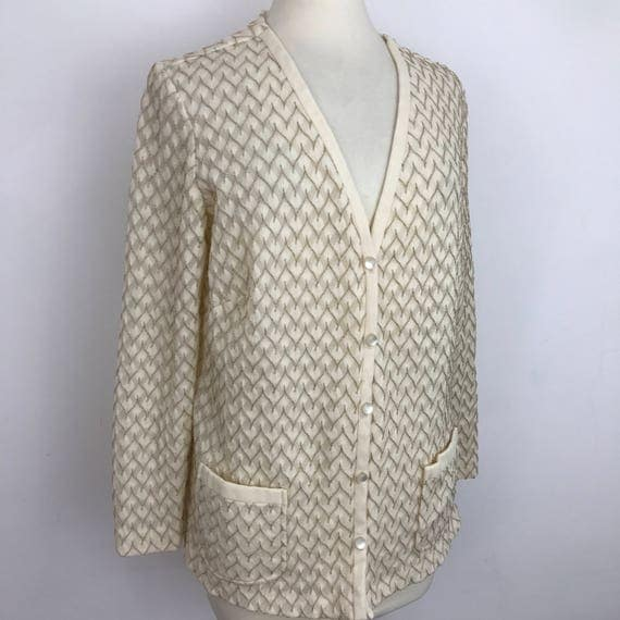 Vintage knit jacket gold chevron knitted cardigan cardi Mod top cream scooter girl UK 12 14 zig zag boho 1940s 1920s cruise style