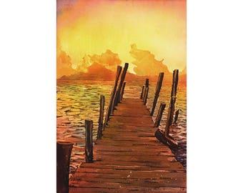Watercolor painting of sunset over water & volcanoes of Lake Atitlan at sunset- Guatemala.  Watercolor landscape wall art Guatemala lake