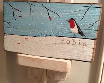 SALE~Driftwood art winter robin. Hand painted/painting/birds/winter/Christmas/decoration.