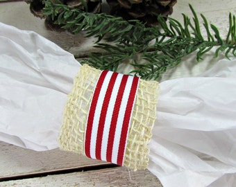 Christmas Burlap Napkin Rings, Red Candy Cane Stripe Ribbon, Rustic Christmas Decor, Rustic Table Decoration Natural Country Farmhouse Decor