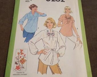 Vintage Pattern, UNCUT, Shirt, Simplicity 8262, Miss Size 12