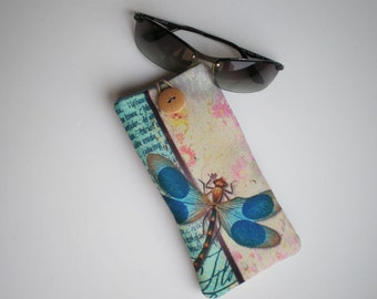 Glasses case, Sunglasses sleeve, Soft eyeglasses case, Case for sunglasses, Quilted eyeglass case, glasses sleeve, dragon fly sleeve