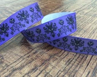 5 yards 7/8 purple haunted mansion ribbon. Haunted, mansion, purple, grosgrain, ribbon, craft, crafting, sewing, scrapbook, hairbows