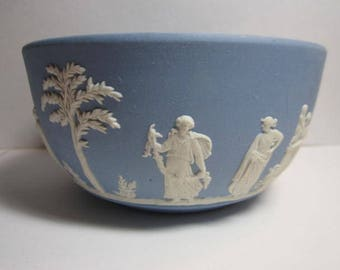 Vtg. Wedgwood Blue Jasperware  5 in. Bowl