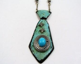 Western Style, Necktie Jewelry, Southwest Necklace, Turquoise Necklace, Handmade, enameled jewelry, Howling Dog Jewelry N300
