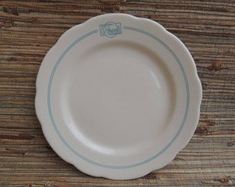 "Vintage Buffalo China Restaurant Ware Blue Stripes ""Pearls"" Plate USA"