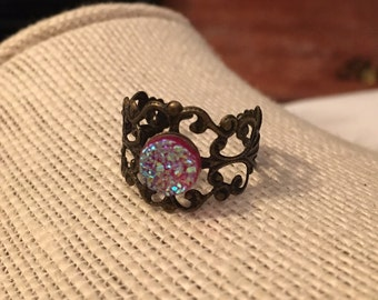 8mm Red Faux Druzy Filigree Adjustable Ring