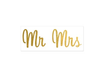 Mr and Mrs Gold Metallic Temporary Tattoo | Wedding Gift for Couple | Wedding Tattoo Favor | Flash Tattoo | Gift for Bride and groom
