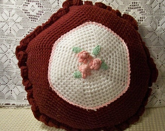 Hand Crocheted Deep Burgundy Pillow - Cecelia-Marie 245
