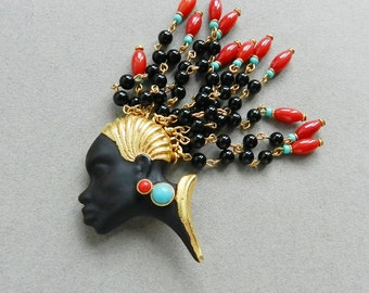 Askew London blackamoor queen brooch