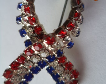 Vintage Unsigned Small Red/Clear and Blue Rhinestone Ribbon Brooch/Pin