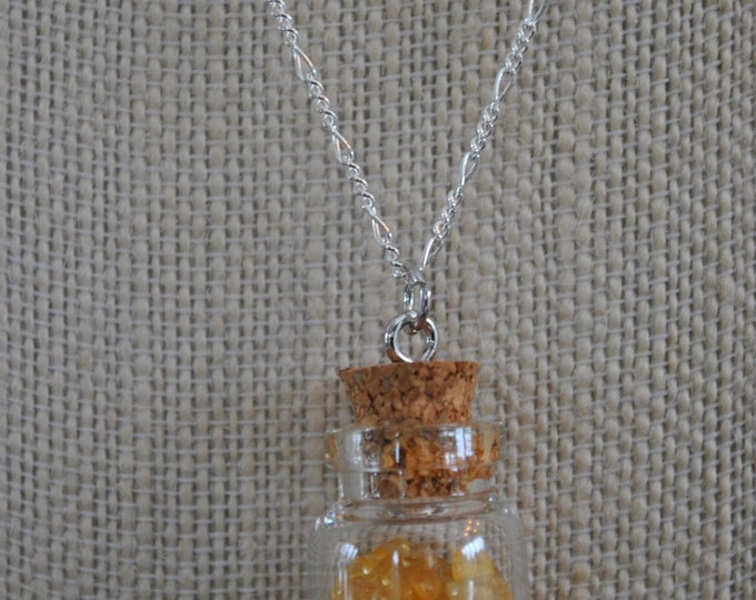 Genuine Citrine Jar Necklace on Sterling Silver chain, yellow stone necklace, boho, minimalist, chakra stone