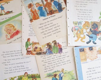 Vintage Children's Book Paper 1935-1942 Children's illustrated Elementary School Reading Books 20 pages of Vintage Images