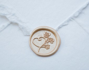 Heart Wax seal, flower wax seal for weddings or birthday party invitations