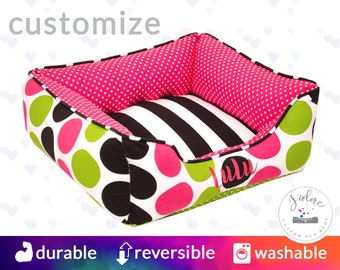 Colorful Pink & Black Dog Bed or Cat Bed | Chartreuse Green, Candy Pink, Black, White | Stripe, Polka Dots | Design Your Own!
