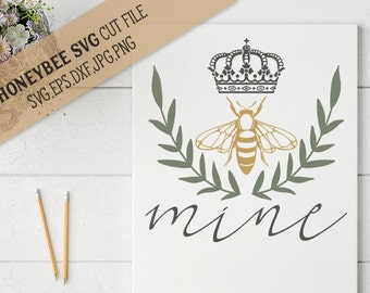 Bee Mine Laurel svg eps dxf jpeg png cut file for Silhouette and Cricut Explore craft machines