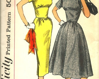 """1950's Vintage Simplicity 1953 Dress Sewing Pattern  Size 16 Bust 36"""" 1 piece dress with two skirts and detachable neckline & sleeve trim"""