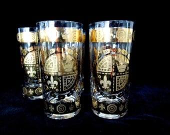 Mid Century Barware,  5 Vito Bari Highballs, Gold Crown, Fleur De Lis, Retro Barware, Mad Men Barware, Wedding Housewarming Gift