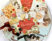 Embellishment Kit / Prima Bella Rouge / Scrapbook Embellishment / Scrapbooking Supplies / Craft Embellishments / Junk Journal / Red kit