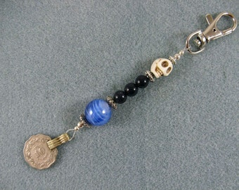 Beaded clip with kuchi coin to wear on belt loop or purse- jean jewelry